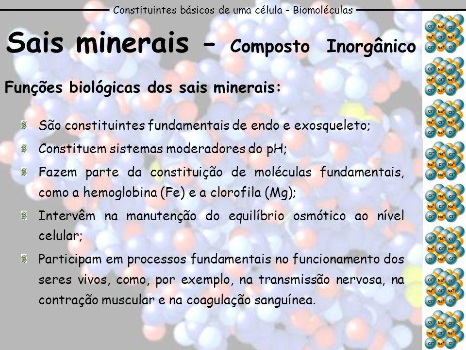 Constituintes básicos de uma célula - Biomoléculas Sais minerais - Composto Inorgânico Funções biológicas dos sais minerais: São constituintes fundame
