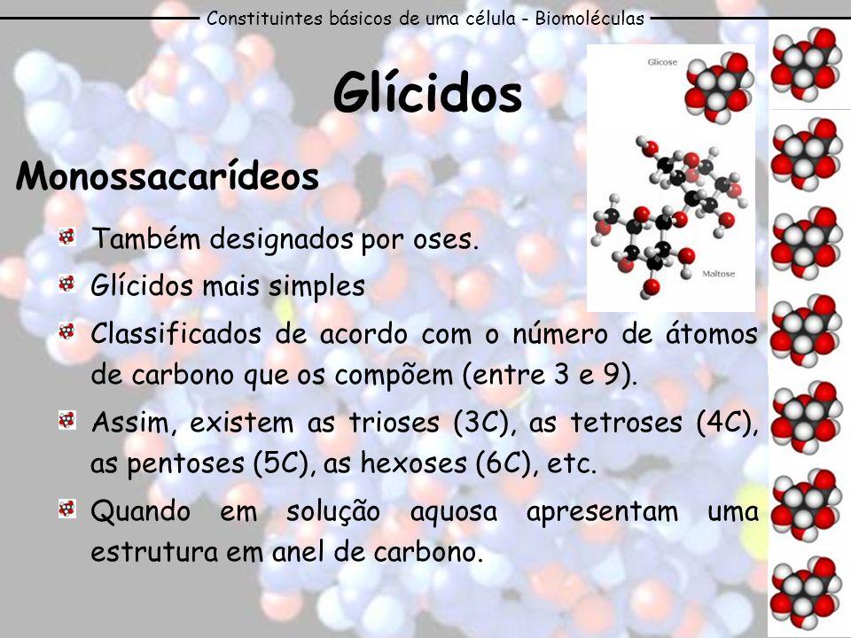 Constituintes básicos de uma célula - Biomoléculas Glícidos Monossacarídeos Também designados por oses. Glícidos mais simples Classificados de acordo