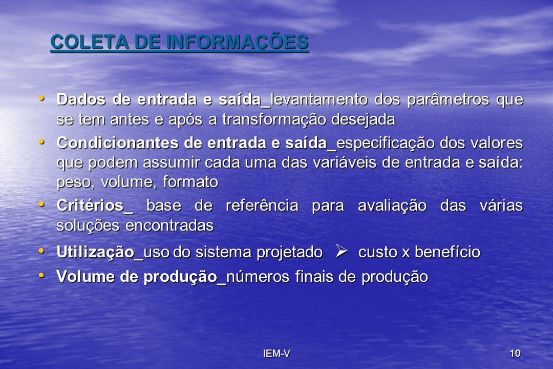 IEM-V10 COLETA DE INFORMAÇÕES Dados de entrada e saída_levantamento dos parâmetros que se tem antes e após a transformação desejada Dados de entrada e