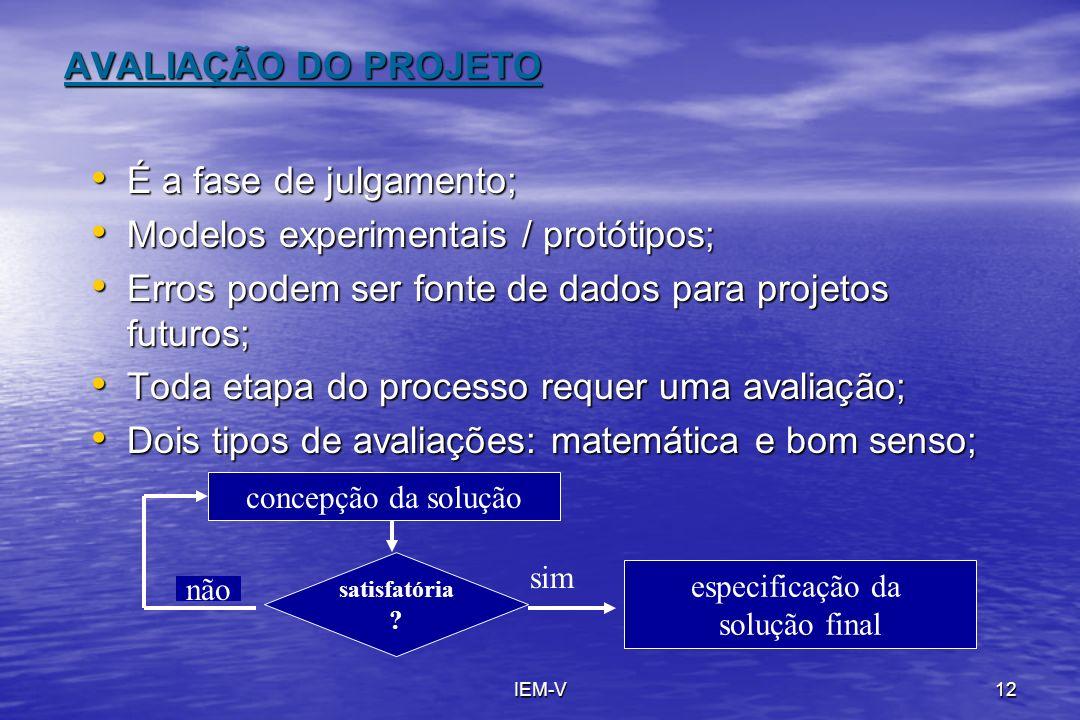 IEM-V12 AVALIAÇÃO DO PROJETO É a fase de julgamento; É a fase de julgamento; Modelos experimentais / protótipos; Modelos experimentais / protótipos; E