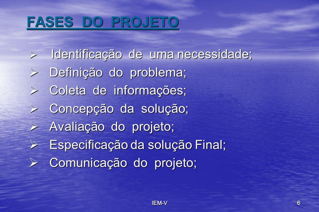 IEM-V6 FASES DO PROJETO Identificação de uma necessidade; Identificação de uma necessidade; Definição do problema; Definição do problema; Coleta de in