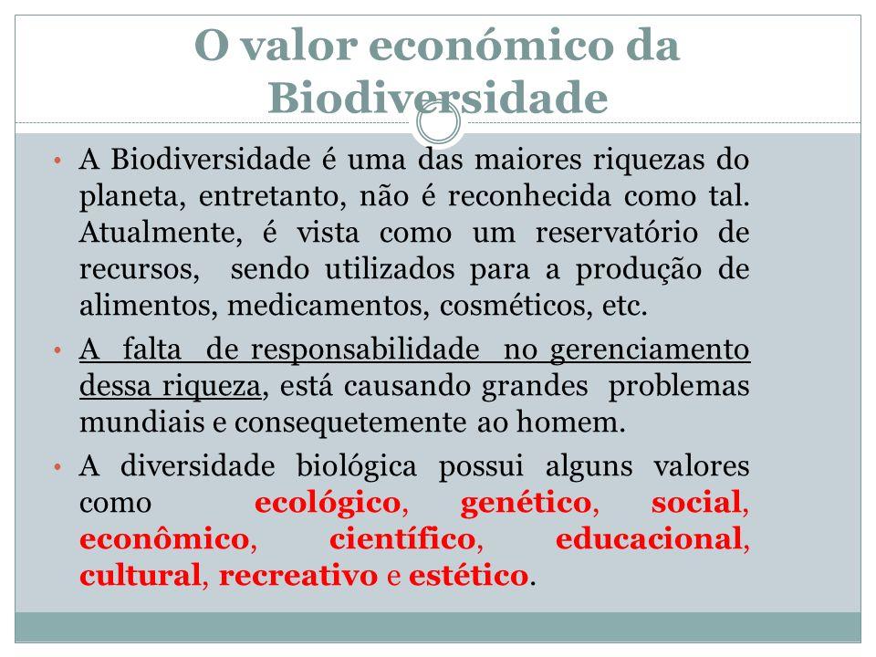O valor económico da Biodiversidade A Biodiversidade é uma das maiores riquezas do planeta, entretanto, não é reconhecida como tal. Atualmente, é vist
