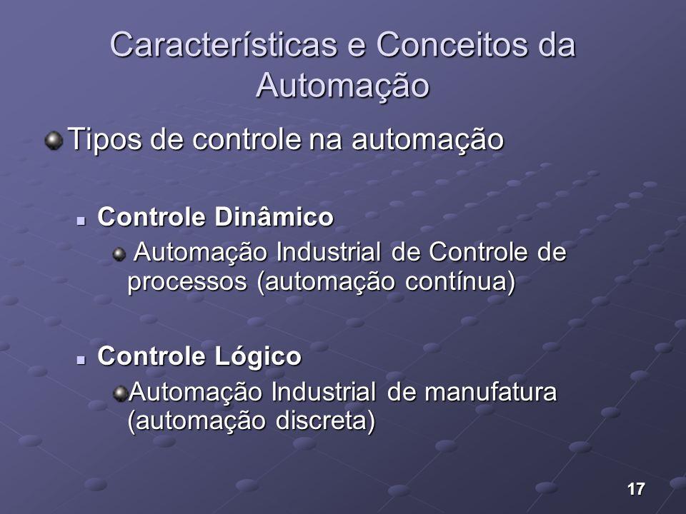 17 Características e Conceitos da Automação Tipos de controle na automação Controle Dinâmico Controle Dinâmico Automação Industrial de Controle de pro