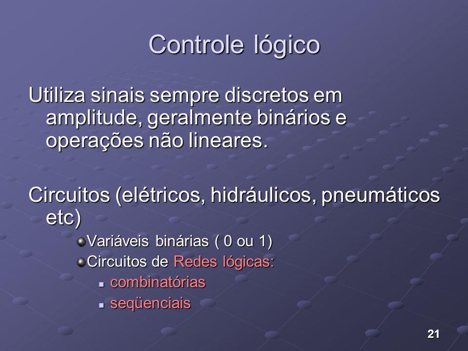 21 Controle lógico Utiliza sinais sempre discretos em amplitude, geralmente binários e operações não lineares. Circuitos (elétricos, hidráulicos, pneu