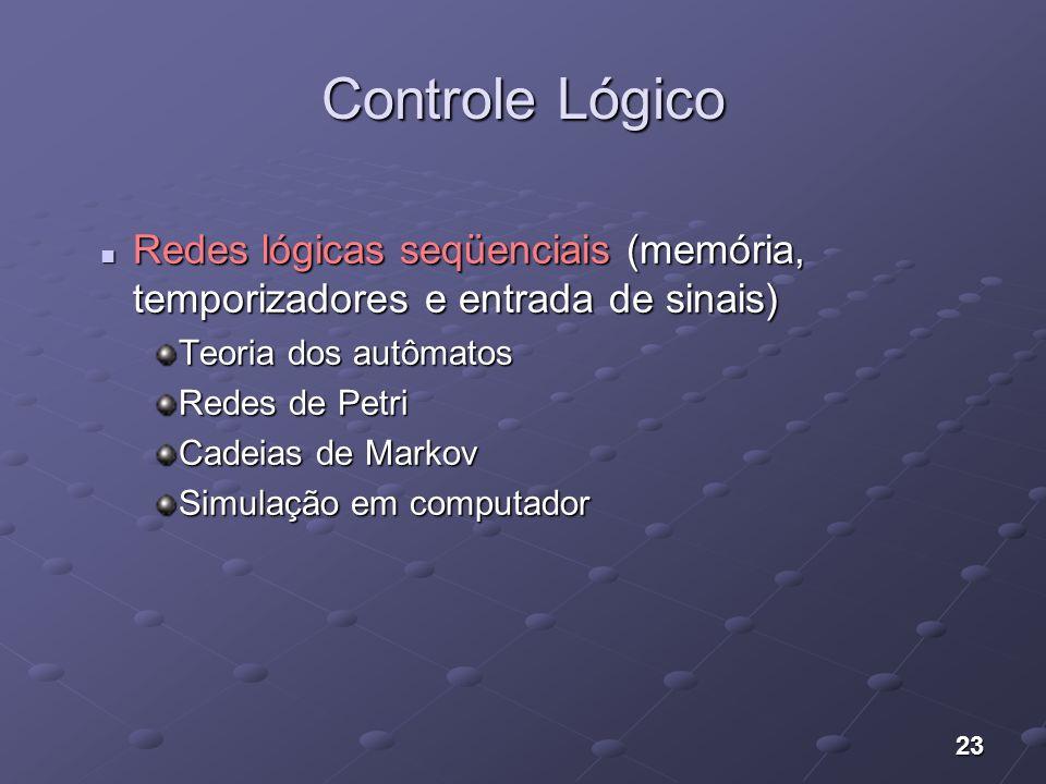 23 Controle Lógico Redes lógicas seqüenciais (memória, temporizadores e entrada de sinais) Redes lógicas seqüenciais (memória, temporizadores e entrad