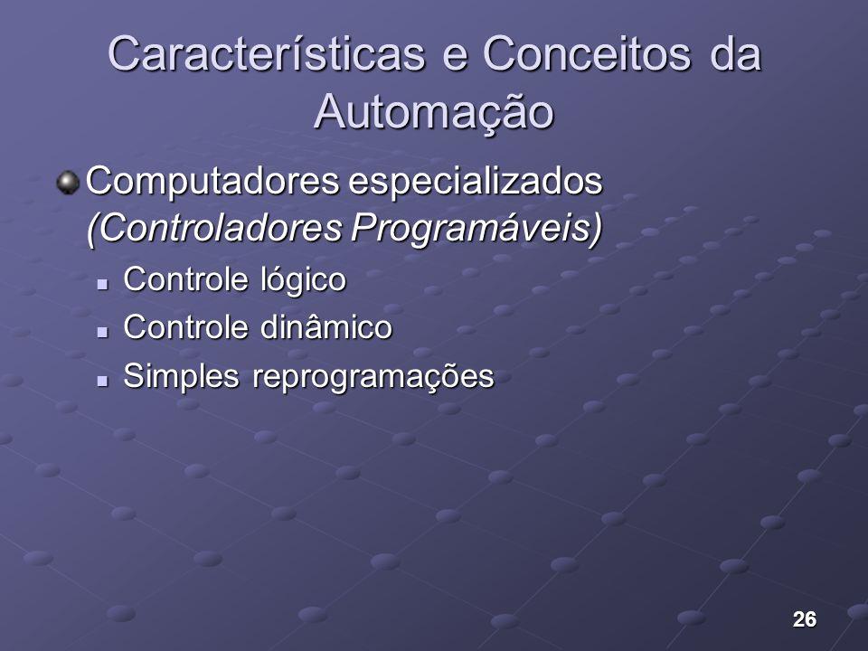 26 Características e Conceitos da Automação Computadores especializados (Controladores Programáveis) Controle lógico Controle lógico Controle dinâmico