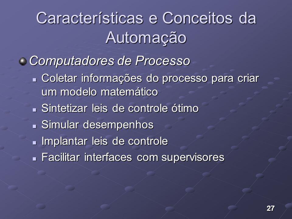 27 Características e Conceitos da Automação Computadores de Processo Coletar informações do processo para criar um modelo matemático Coletar informaçõ
