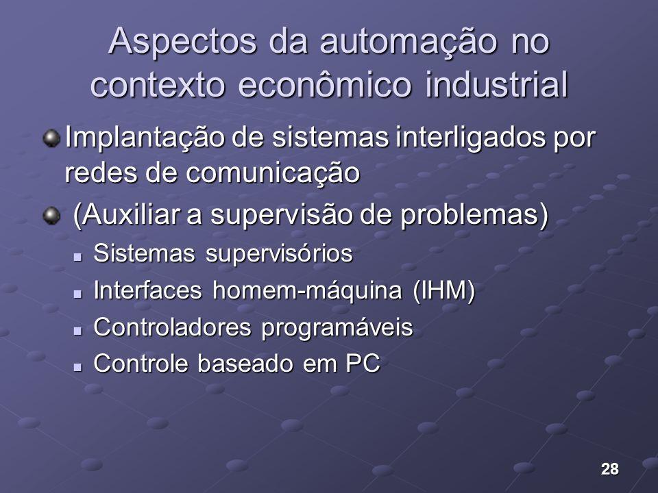 28 Aspectos da automação no contexto econômico industrial Implantação de sistemas interligados por redes de comunicação (Auxiliar a supervisão de prob
