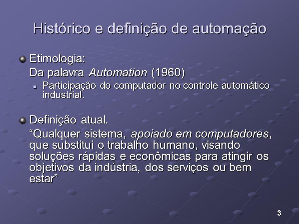 3 Histórico e definição de automação Etimologia: Da palavra Automation (1960) Participação do computador no controle automático industrial. Participaç