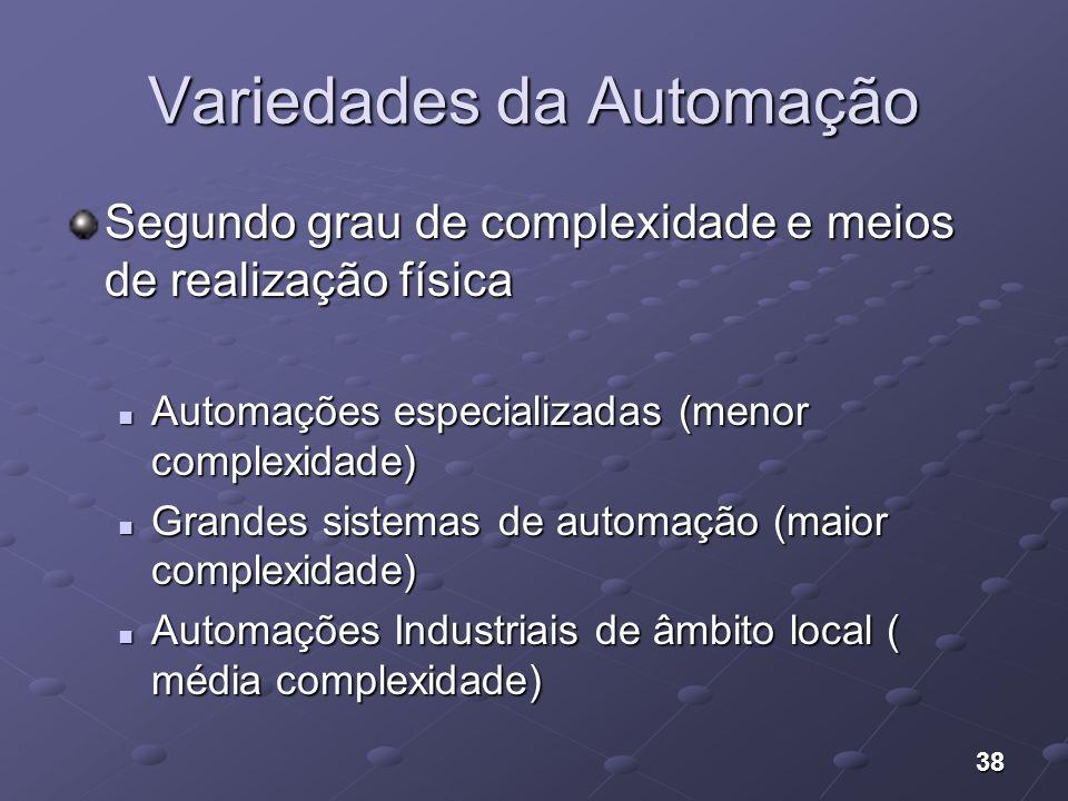 38 Variedades da Automação Segundo grau de complexidade e meios de realização física Automações especializadas (menor complexidade) Automações especia