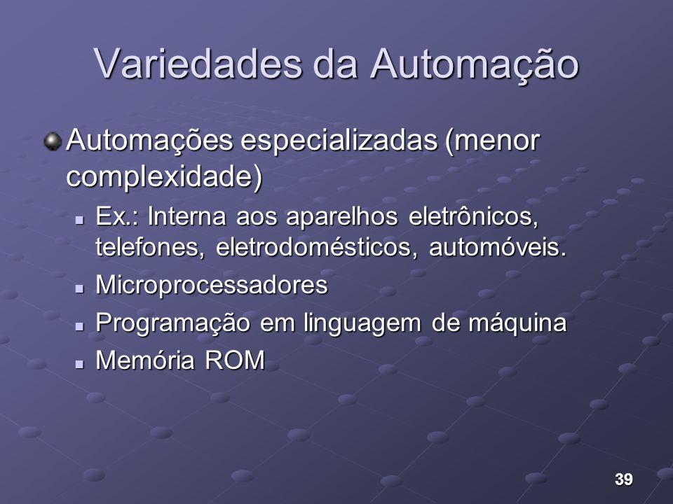 39 Variedades da Automação Automações especializadas (menor complexidade) Ex.: Interna aos aparelhos eletrônicos, telefones, eletrodomésticos, automóv