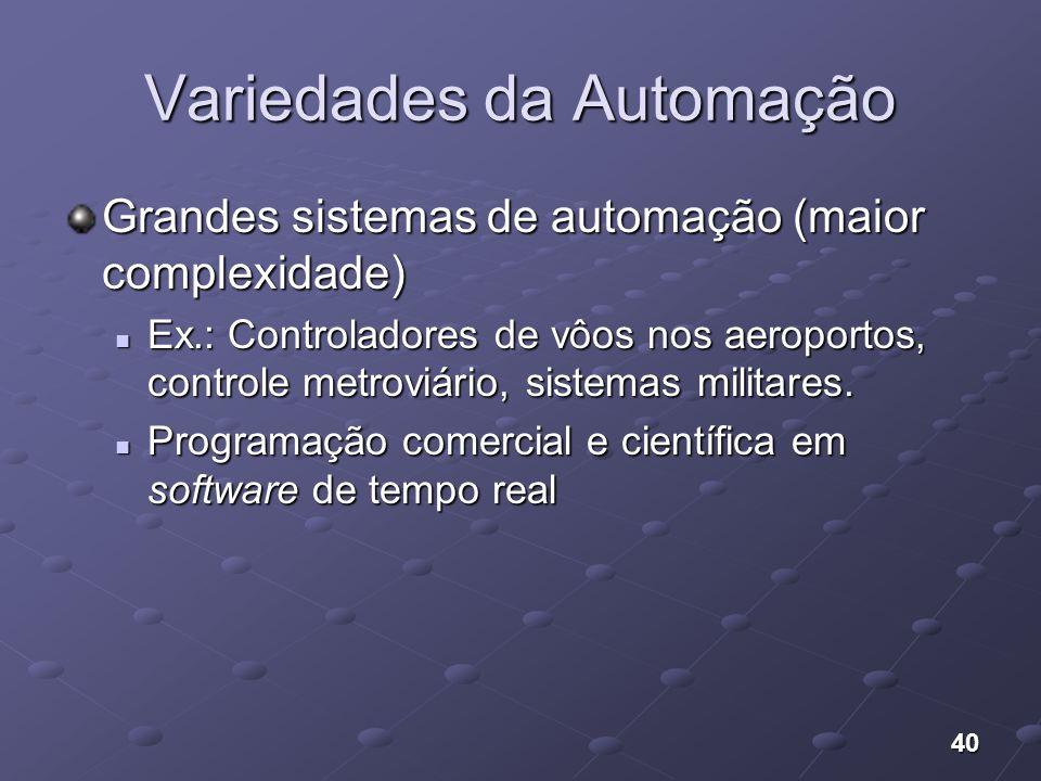 40 Variedades da Automação Grandes sistemas de automação (maior complexidade) Ex.: Controladores de vôos nos aeroportos, controle metroviário, sistema