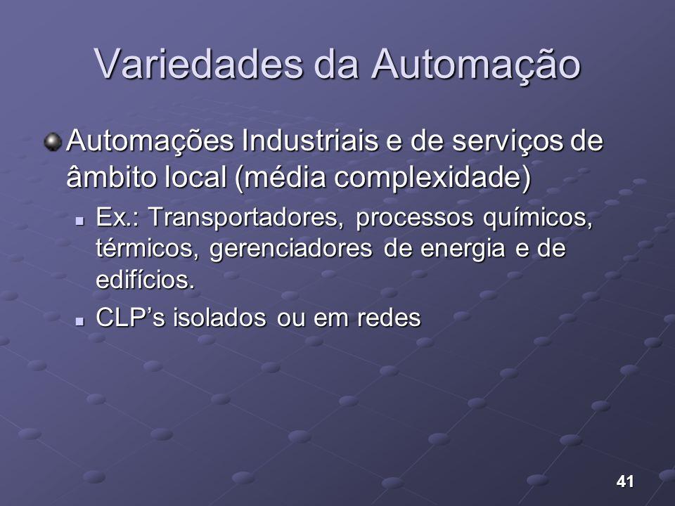 41 Variedades da Automação Automações Industriais e de serviços de âmbito local (média complexidade) Ex.: Transportadores, processos químicos, térmico