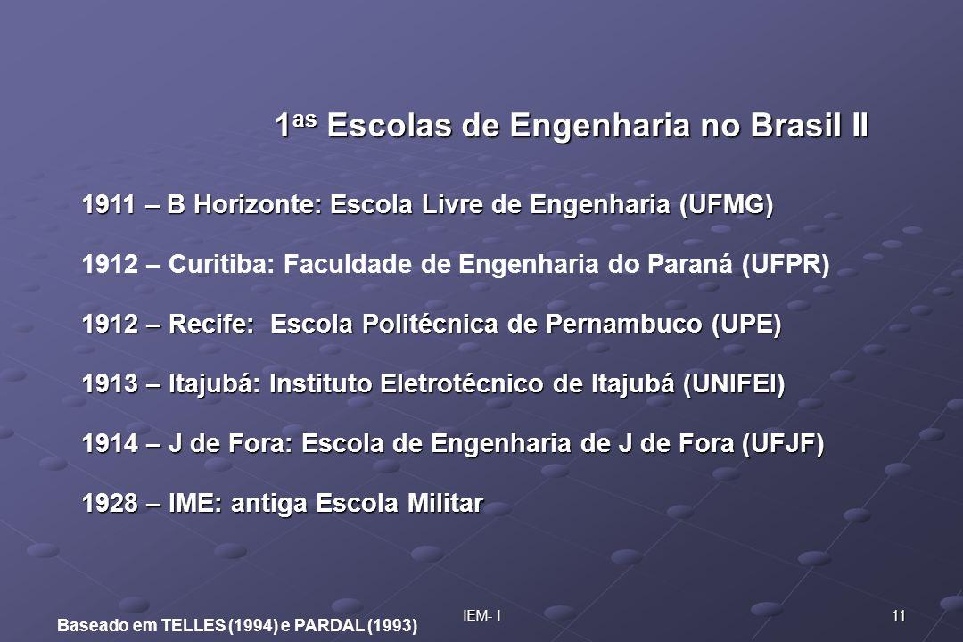 11IEM- I Baseado em TELLES (1994) e PARDAL (1993) 1911 – B Horizonte: Escola Livre de Engenharia (UFMG) 1912 – Curitiba: Faculdade de Engenharia do Pa