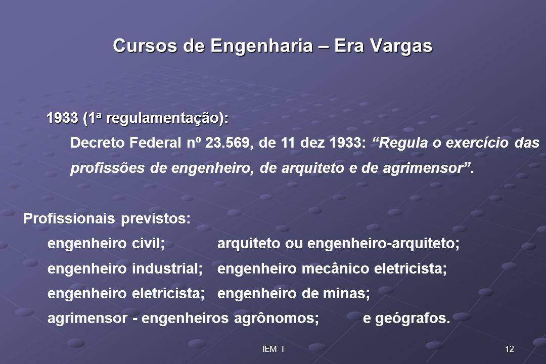 12IEM- I 1933 (1 a regulamentação): Decreto Federal nº 23.569, de 11 dez 1933: Regula o exercício das profissões de engenheiro, de arquiteto e de agri