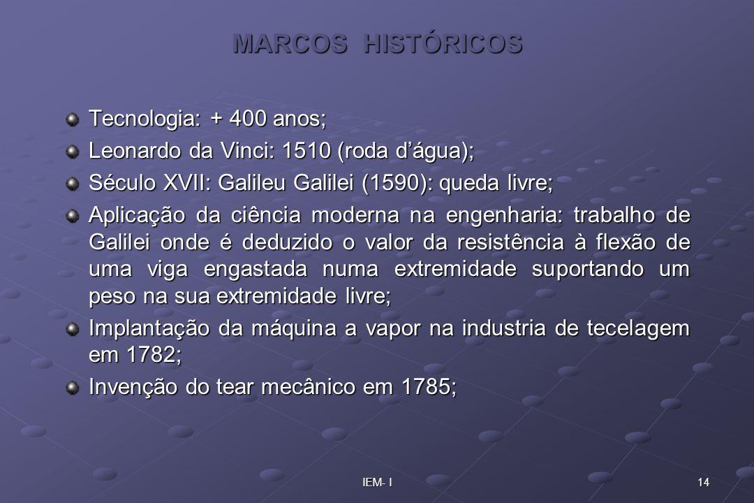 14IEM- I MARCOS HISTÓRICOS Tecnologia: + 400 anos; Leonardo da Vinci: 1510 (roda dágua); Século XVII: Galileu Galilei (1590): queda livre; Aplicação d
