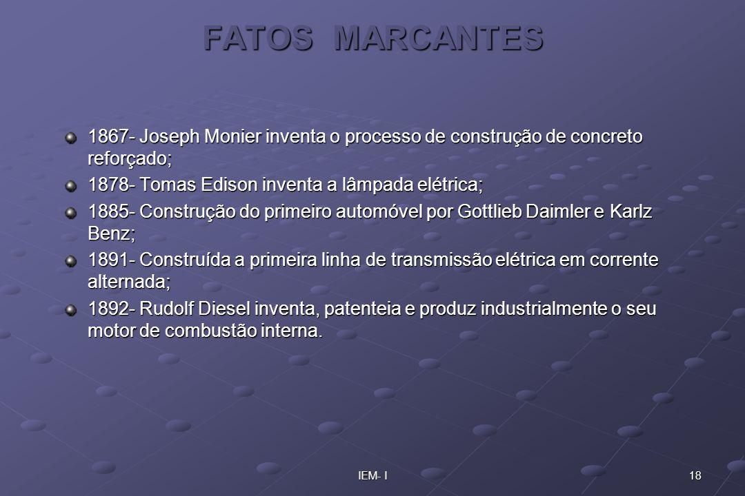 18IEM- I FATOS MARCANTES 1867- Joseph Monier inventa o processo de construção de concreto reforçado; 1878- Tomas Edison inventa a lâmpada elétrica; 18