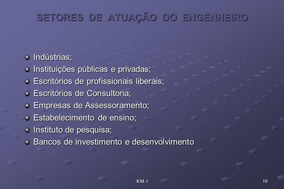 19IEM- I SETORES DE ATUAÇÃO DO ENGENHEIRO Indústrias; Instituições públicas e privadas; Escritórios de profissionais liberais; Escritórios de Consulto