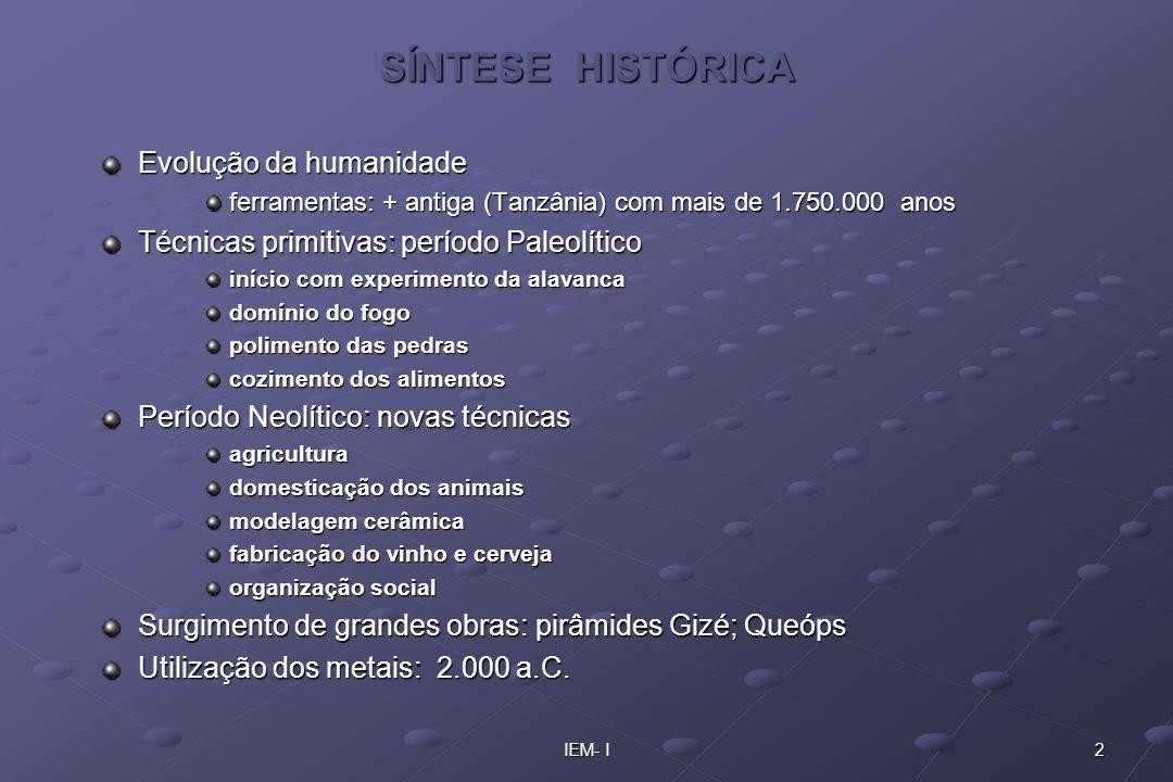 2IEM- I SÍNTESE HISTÓRICA Evolução da humanidade ferramentas: + antiga (Tanzânia) com mais de 1.750.000 anos Técnicas primitivas: período Paleolítico