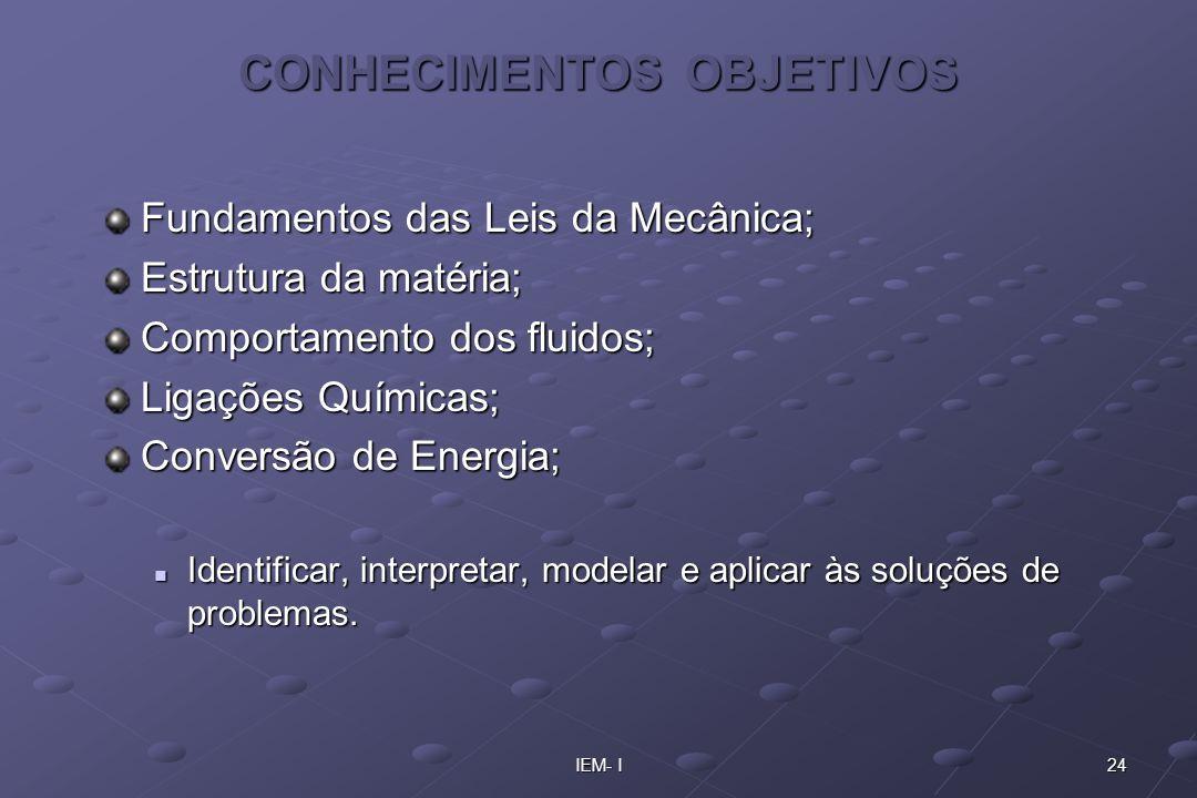 24IEM- I CONHECIMENTOS OBJETIVOS Fundamentos das Leis da Mecânica; Estrutura da matéria; Comportamento dos fluidos; Ligações Químicas; Conversão de En