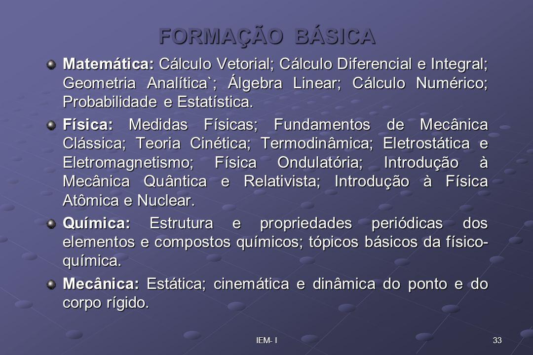 33IEM- I FORMAÇÃO BÁSICA Matemática: Cálculo Vetorial; Cálculo Diferencial e Integral; Geometria Analítica`; Álgebra Linear; Cálculo Numérico; Probabi