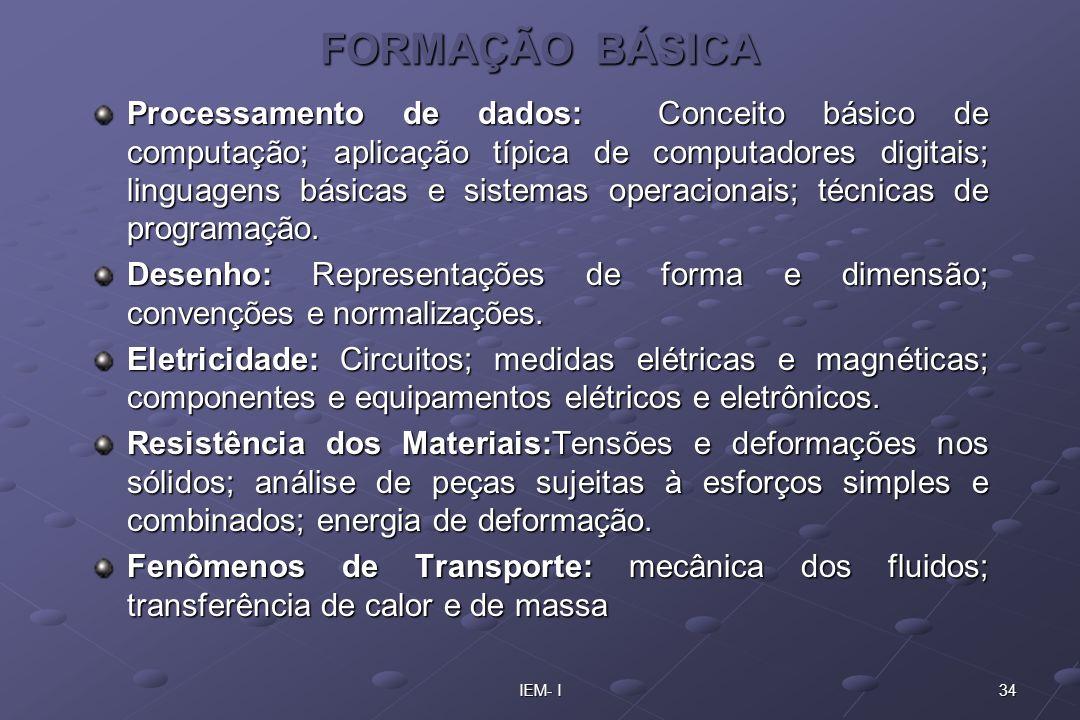 34IEM- I FORMAÇÃO BÁSICA Processamento de dados: Conceito básico de computação; aplicação típica de computadores digitais; linguagens básicas e sistem