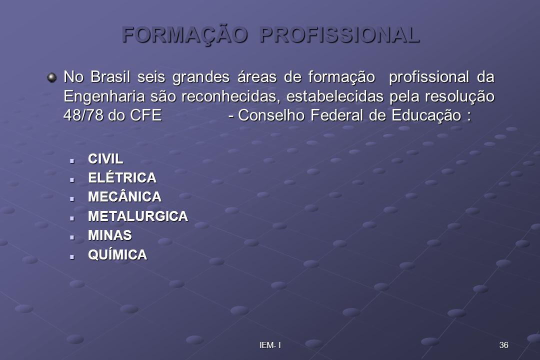 36IEM- I FORMAÇÃO PROFISSIONAL No Brasil seis grandes áreas de formação profissional da Engenharia são reconhecidas, estabelecidas pela resolução 48/7