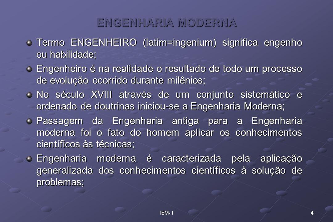 4IEM- I ENGENHARIA MODERNA Termo ENGENHEIRO (latim=ingenium) significa engenho ou habilidade; Engenheiro é na realidade o resultado de todo um process
