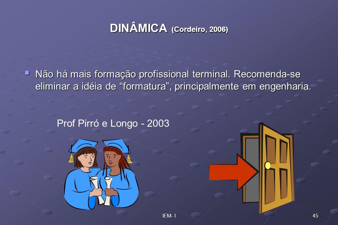 45IEM- I DINÂMICA (Cordeiro, 2006) Não há mais formação profissional terminal. Recomenda-se eliminar a idéia de formatura, principalmente em engenhari