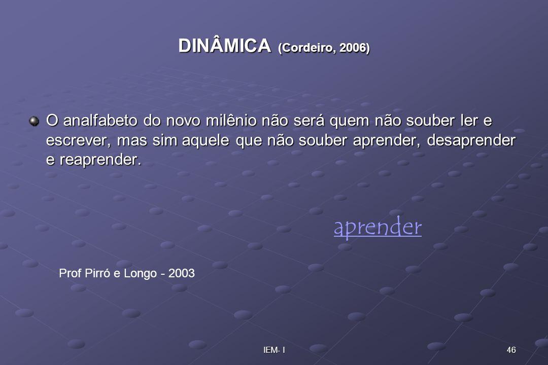 46IEM- I DINÂMICA (Cordeiro, 2006) O analfabeto do novo milênio não será quem não souber ler e escrever, mas sim aquele que não souber aprender, desap