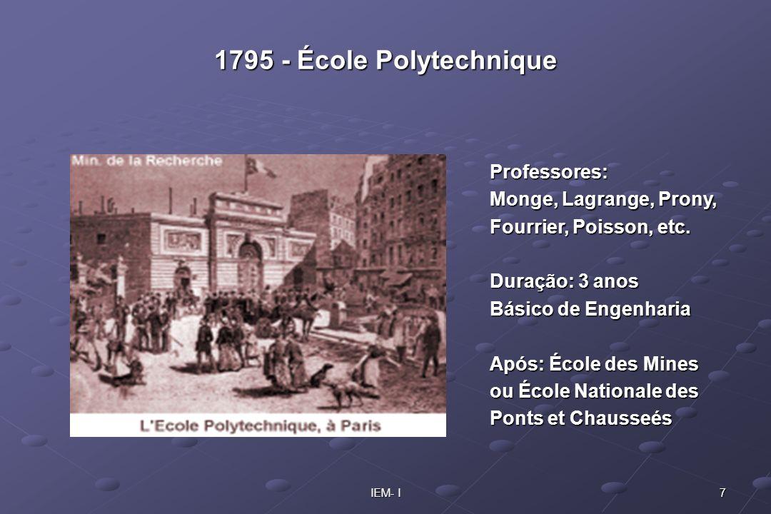 7IEM- I 1795 - École Polytechnique Professores: Monge, Lagrange, Prony, Fourrier, Poisson, etc. Duração: 3 anos Básico de Engenharia Após: École des M