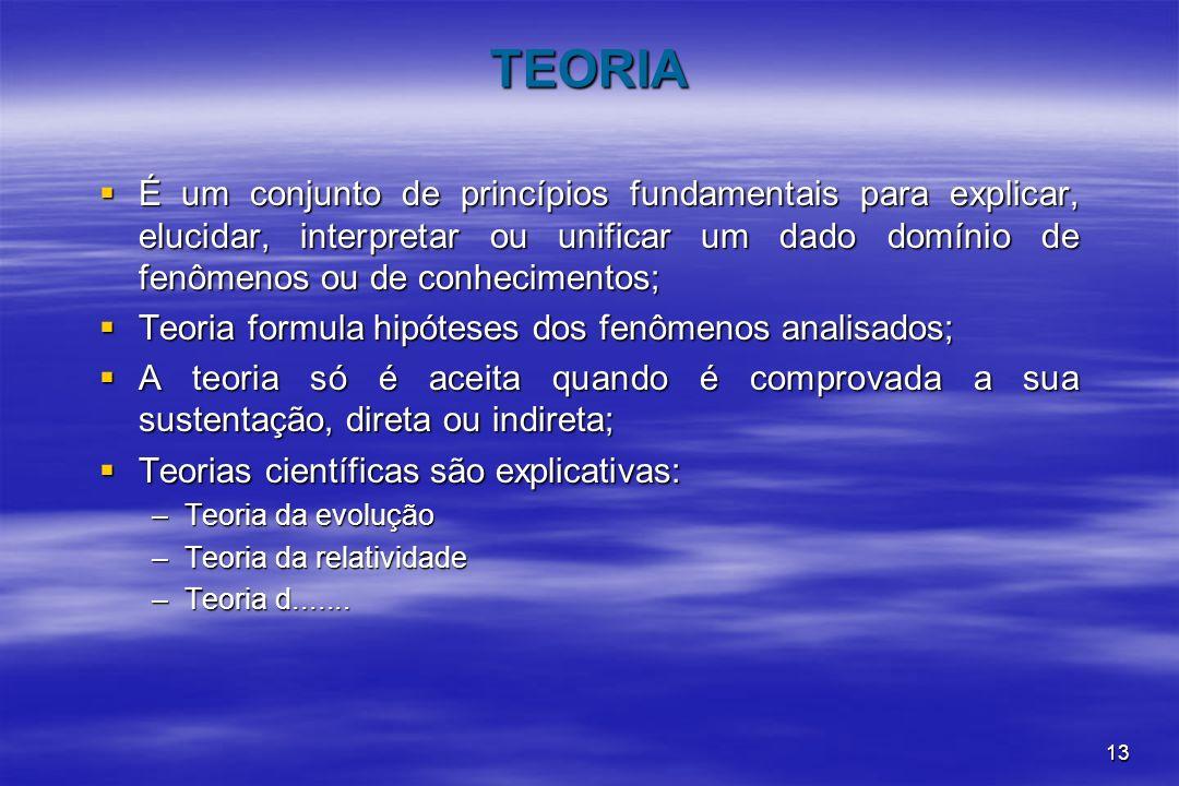 13 TEORIA É um conjunto de princípios fundamentais para explicar, elucidar, interpretar ou unificar um dado domínio de fenômenos ou de conhecimentos;