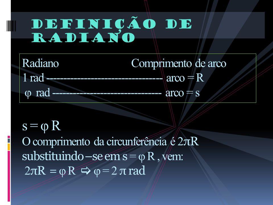 Definição de radiano RadianoComprimento de arco 1 rad ---------------------------------- arco = R φ rad -------------------------------- arco = s s =