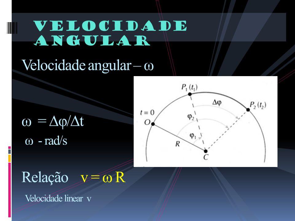 Velocidade angular Velocidade angular – ω ω = φ/t ω - rad/s Relação v = ω R Velocidade linear v