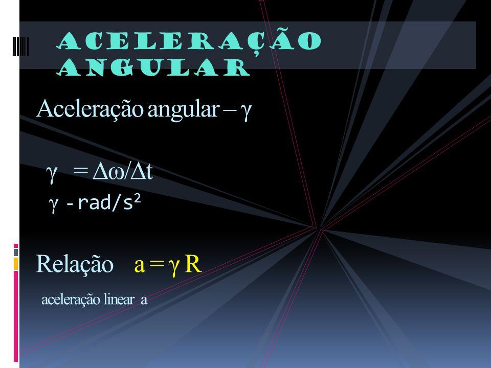 Aceleração angular Aceleração angular – γ γ = ω/t γ - rad/s 2 Relação a = γ R aceleração linear a