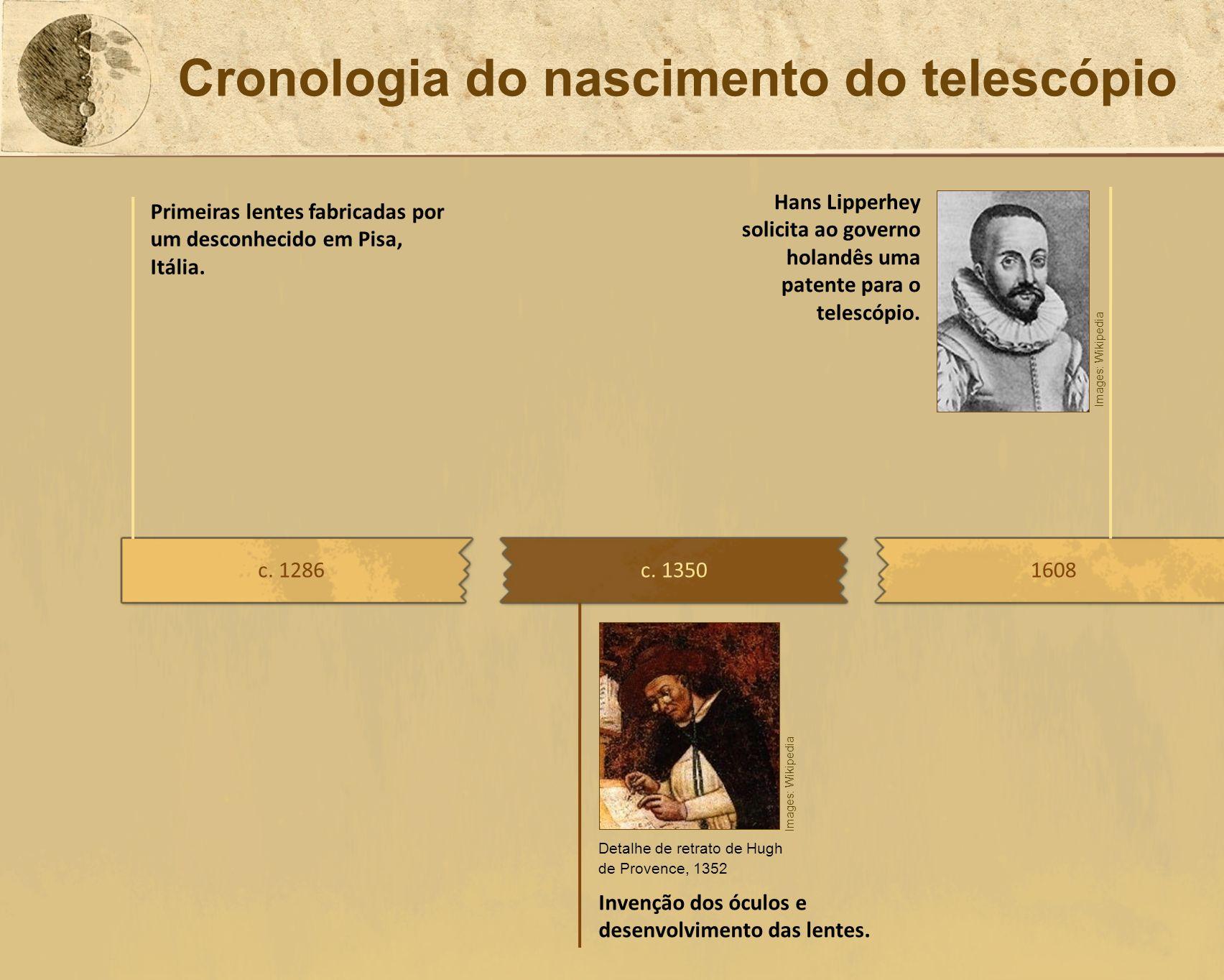 Cronologia do nascimento do telescópio c. 13501608 Invenção dos óculos e desenvolvimento das lentes. Hans Lipperhey solicita ao governo holandês uma p