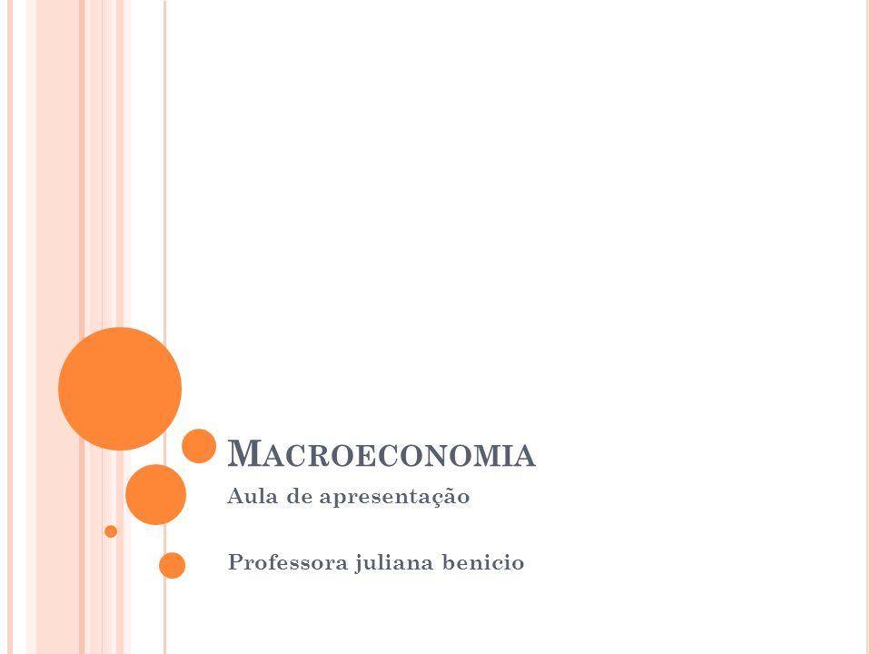 M ACROECONOMIA Aula de apresentação Professora juliana benicio