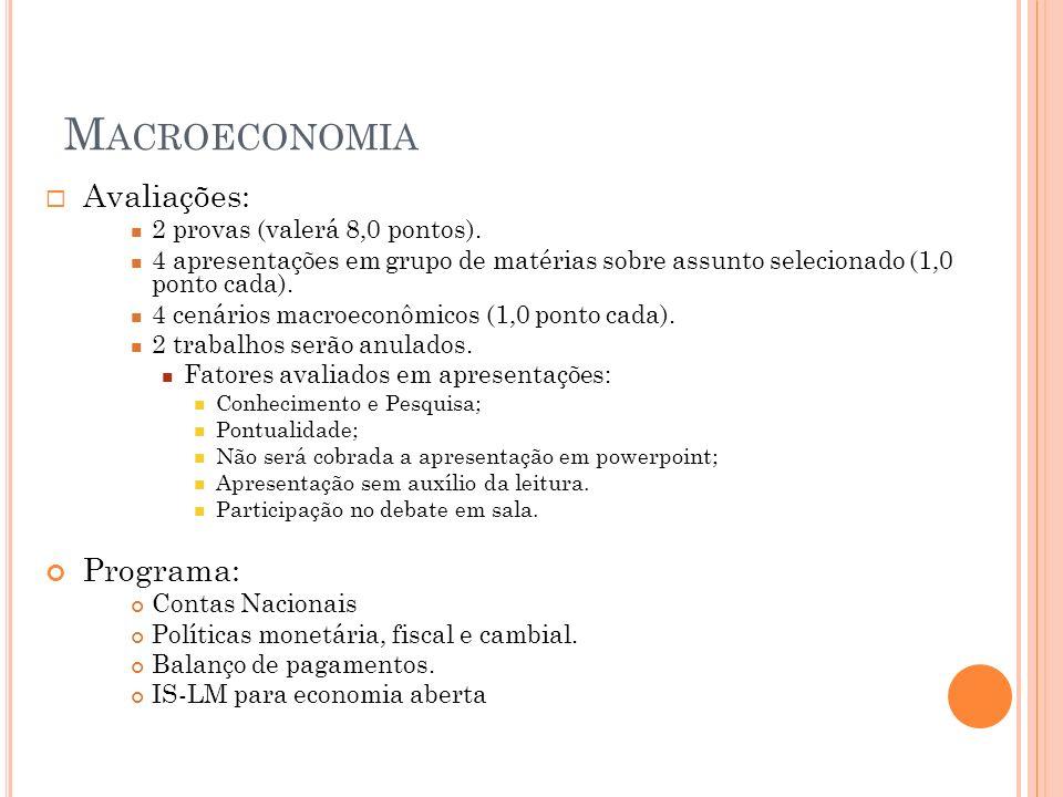 M ACROECONOMIA Avaliações: 2 provas (valerá 8,0 pontos). 4 apresentações em grupo de matérias sobre assunto selecionado (1,0 ponto cada). 4 cenários m