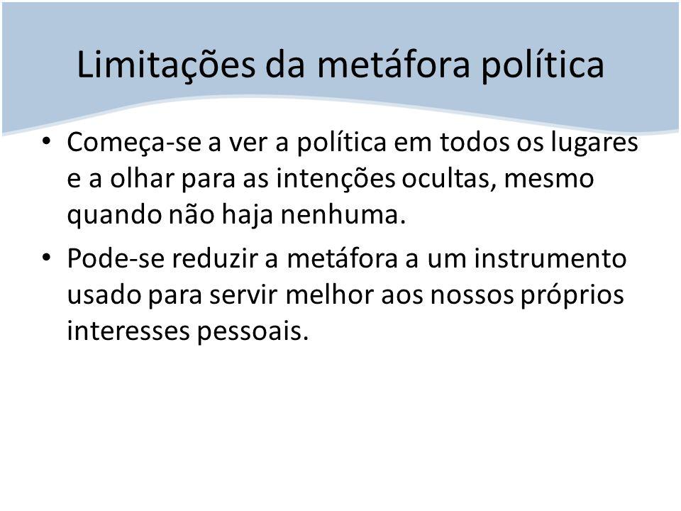 Limitações da metáfora política Começa-se a ver a política em todos os lugares e a olhar para as intenções ocultas, mesmo quando não haja nenhuma. Pod