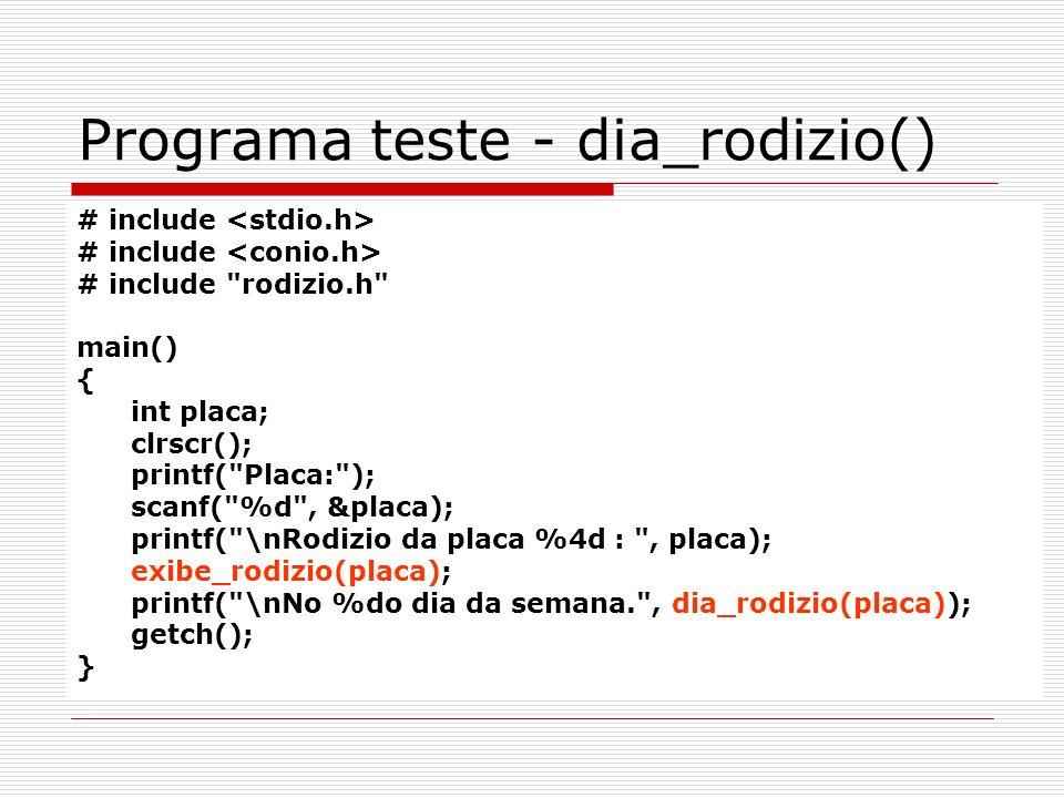 Programa teste - dia_rodizio() # include # include