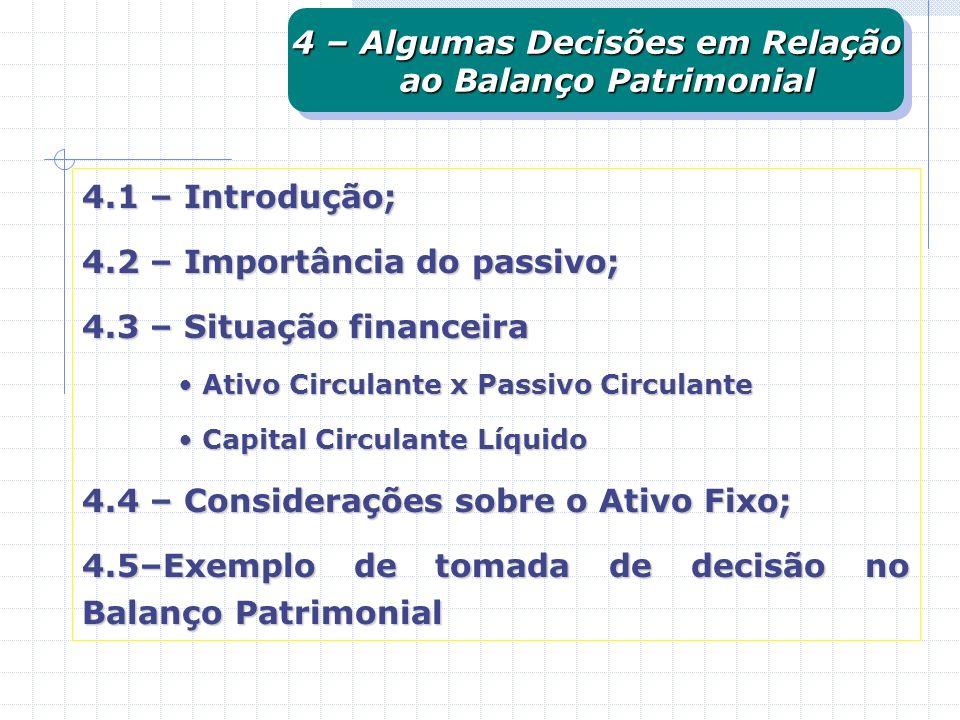 4.1 – Introdução; 4.2 – Importância do passivo; 4.3 – Situação financeira Ativo Circulante x Passivo Circulante Ativo Circulante x Passivo Circulante