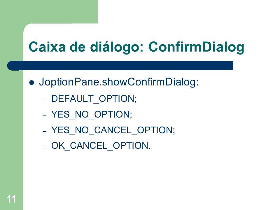 11 Caixa de diálogo: ConfirmDialog JoptionPane.showConfirmDialog: – DEFAULT_OPTION; – YES_NO_OPTION; – YES_NO_CANCEL_OPTION; – OK_CANCEL_OPTION.