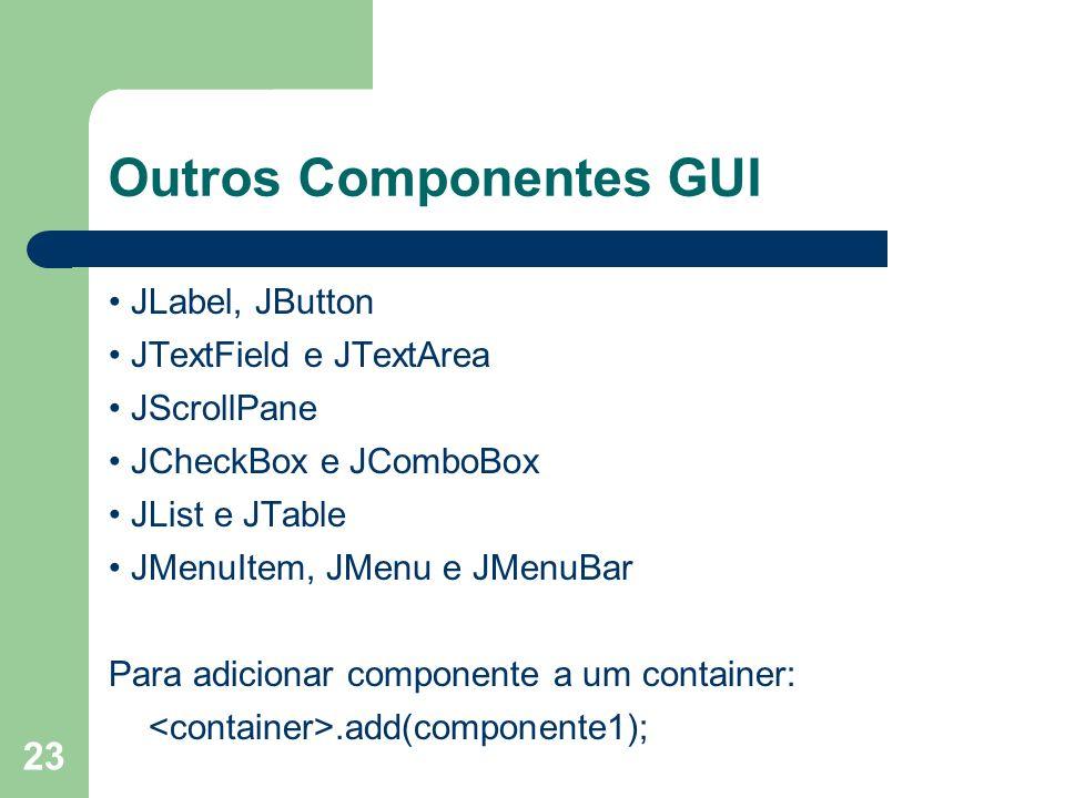23 Outros Componentes GUI JLabel, JButton JTextField e JTextArea JScrollPane JCheckBox e JComboBox JList e JTable JMenuItem, JMenu e JMenuBar Para adicionar componente a um container:.add(componente1);