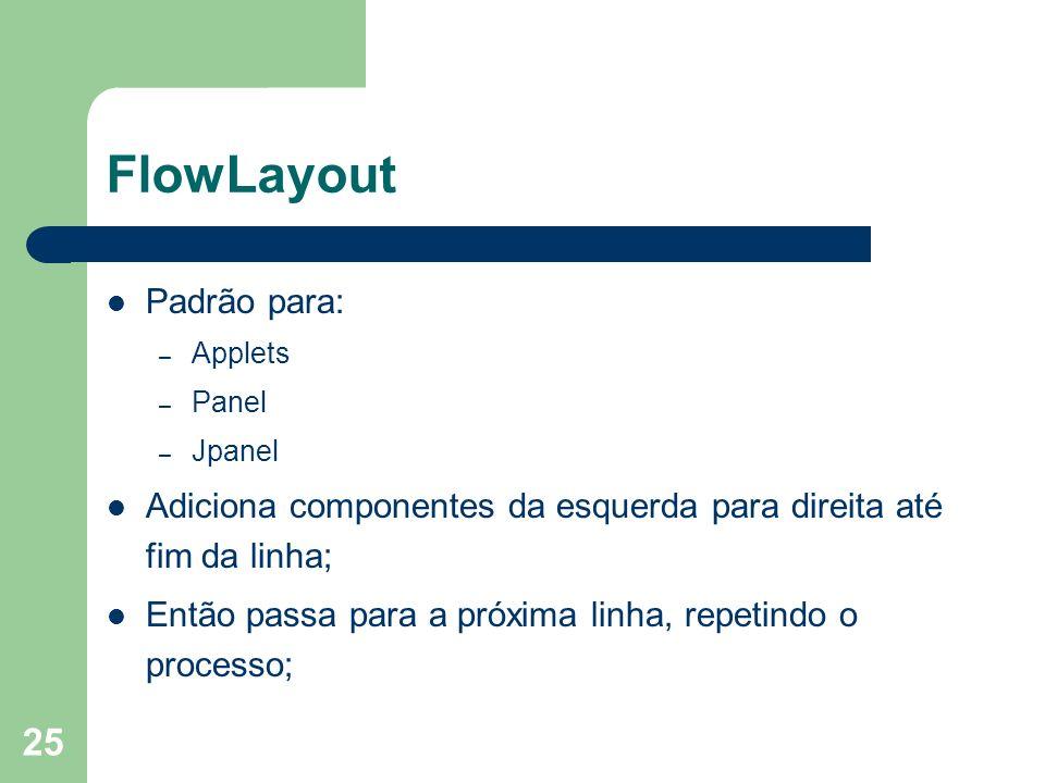 25 FlowLayout Padrão para: – Applets – Panel – Jpanel Adiciona componentes da esquerda para direita até fim da linha; Então passa para a próxima linha, repetindo o processo;