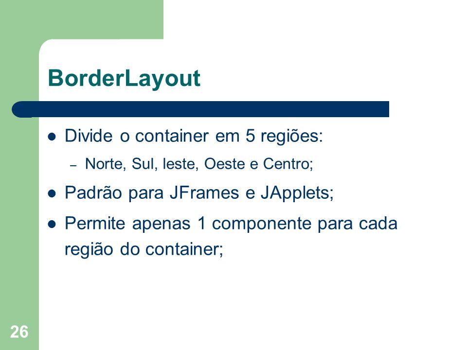 26 BorderLayout Divide o container em 5 regiões: – Norte, Sul, leste, Oeste e Centro; Padrão para JFrames e JApplets; Permite apenas 1 componente para cada região do container;