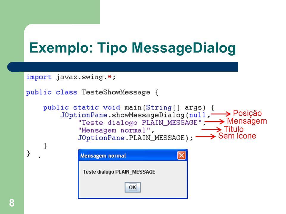 8 Exemplo: Tipo MessageDialog Posição Mensagem Título Sem ícone