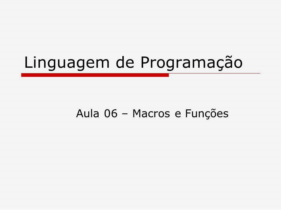 Linguagem de Programação Aula 06 – Macros e Funções