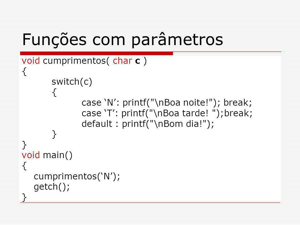 Funções com parâmetros void cumprimentos( char c ) { switch(c) { case N: printf(