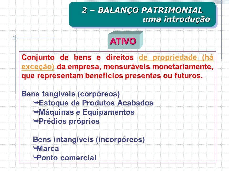 ATIVO ATIVOPASSIVO OBRIGAÇÕES COM TERCEIROS OBRIGAÇÕES COM ACIONISTAS BENSEDIREITOS O Balanço Patrimonial representa a composição sintética de todas a