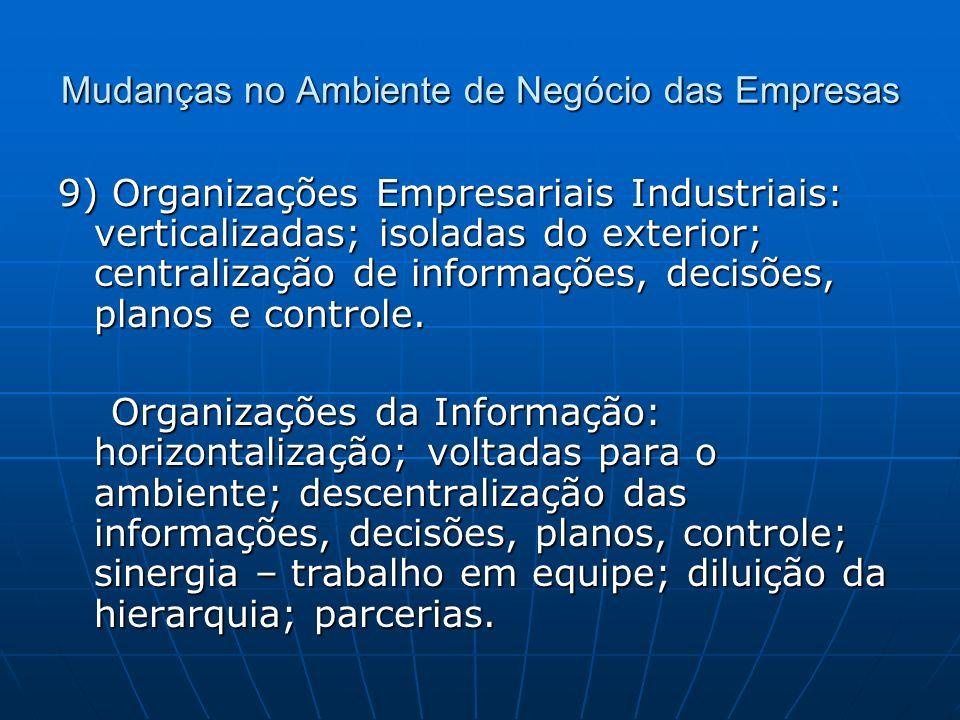 Mudanças no Ambiente de Negócio das Empresas 9) Organizações Empresariais Industriais: verticalizadas; isoladas do exterior; centralização de informações, decisões, planos e controle.